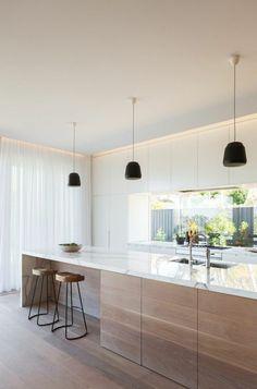 meuble cuisine rideau coulissante blanc dans la cuisine moderne