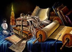 So much to study, so little time....art by Alex Levin, Israeli painter