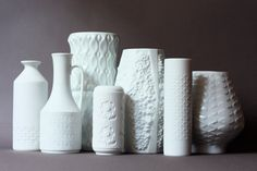 White German Porcelain Vases - Jonathan Alder w/out the price tag. $50  #midcentury #mid century #white