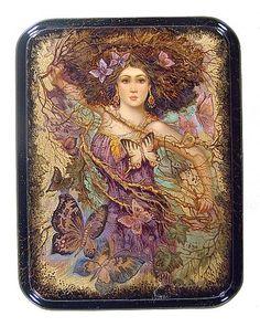 """""""Butterflies & Maiden""""  Lacquer Art by Mochalova (Fediskino )"""