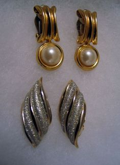 Nashville Estate Earrings 2 Pair Lot  Pearl  Goldplated Chic Classic Glittery  #Unbranded #clipcluster