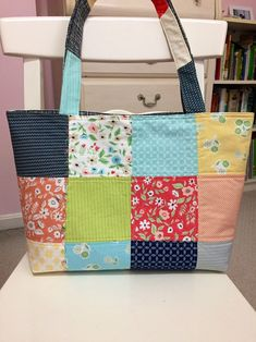 """Made with Moda Fabrics collections named """"Farmers daughter """" Perfect size for diaper bag, overnight travel, college student. Do you like this tote bag but are not keen on the Quilted Tote Bags, Tote Bags Handmade, Grocery Bags, Work Bags, Simple Bags, Gifts For Her, Quilting, Pouch, Etsy Shop"""