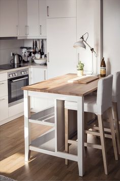 New small kitchen island cart 60 ideas Kitchen Island Table, Kitchen Island With Seating, Mobile Kitchen Island, Kitchen Island Attached To Wall, Kitchen Island Against Wall, Kitchen Island On Wheels, Kitchen Stools, Ikea Island, Kitchen Organization