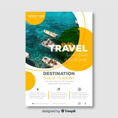Layout Travel flyer template with photo Free Vector You Flyer Layout, Poster Design Layout, Graphic Design Flyer, Corporate Design, Free Flyer Design, Flyer Design Inspiration, Flugblatt Design, Design Trends, Design Ideas