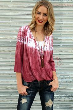 Ramsey Top @unhingedboutik. Order www.unhingedboutique. Unhinged Boutique in Jupiter Florida. Tie Dye Top and Tassel Necklace