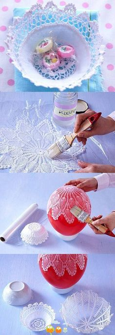 """""""DIY Lacy Napkin Charming Vase DIY Projects I have an idea for you today like always."""", """"DIY Lace Bowls diy craft crafts craft ideas easy crafts diy i Easy Diy Crafts, Creative Crafts, Crafts To Make, Home Crafts, Fun Crafts, Crafts For Kids, Creative Ideas, Fun Diy, 31 Ideas"""