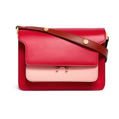 Marni 'Trunk' medium colourblock leather shoulder bag (€2.140) ❤ liked on Polyvore featuring bags, handbags, shoulder bags, red, leather holdall, real leather purses, genuine leather handbags, red shoulder bag and color block purses