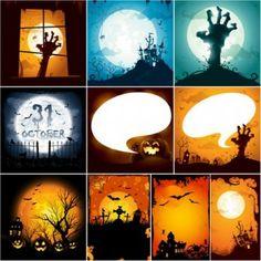 Gruselige Halloween Illustrationen Vektor-Set