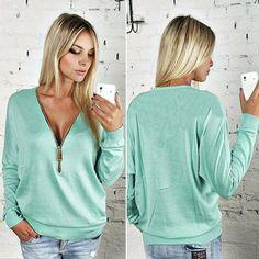Women Casual Pullovers Tops Female 2018 Spring Autumn Black Green Long Sleeve V-Neck Zipper Loose Hoodie Sweatshirts blue XXXL Hoodie Sweatshirts, Hoodies, Coats For Women, T Shirts For Women, Jumper, Sweater, Loose Tops, Mantel, Shirt Style
