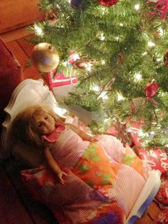 """18"""" doll bed made from wood scraps and a wooden plaque. """"Liddy B. and me: DIY American Girl Doll Bed"""""""