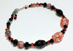 Beaded Ankle Bracelet Black Red and Silver by B4Jjewelrydesigns