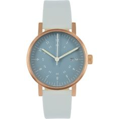 VOID Watches V03D Watch - Navy Dial/Copper Case/Grey Leather Strap (6.930 RUB) found on Polyvore