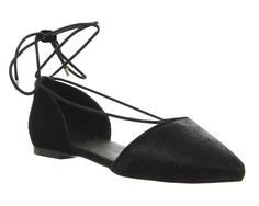 Office Lincoln Lace Up Point Black Cow Hair Black Suede - Flats