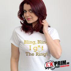Tricou Mireasa, Petrecerea Burlacitelor, Bling, Bling I Got The Ring! Revolution, T Shirts For Women, Bling Bling, Rings, Tops, Fashion, Moda, Fashion Styles, Fasion