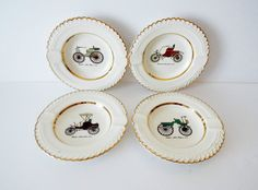 Vintage Ashtray set of 4 The Harker Pottery Co Antique Cars Made USA