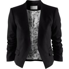 H&M Jacket (115 BRL) ❤ liked on Polyvore featuring outerwear, jackets, blazers, tops, three quarter sleeve blazer, short-sleeve blazers, ruched-sleeve blazer, h&m blazer and short blazer jacket