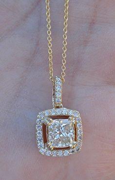 Princess Cut Diamond Solitaire Pendant Necklace 14k by Luxinelle $1700