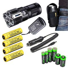 2015 NITECORE Tiny Monster TM26 QuadRay 4000 Lumen Quad CREE XM-L LED Flashlight / Searchlight with 4 X Nitecore NL189 3400mAh 18650 rechargeable batteries, Nitecore car charging adaptor, Nitecore wall charger, Nitecore holster and EdisonBright Batteries sampler pack -- Continue to the product at the image link.