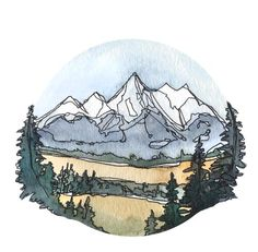 Grand Teton National Park Vinyl Sticker 3 circle by Kat Ryalls watercolor Wyoming Travel Journey Decal Watercolor Landscape, Watercolor And Ink, Watercolor Paintings, Watercolor Stickers, Art And Illustration, Watercolor Illustration, Painting Inspiration, Art Inspo, Kunst Inspo