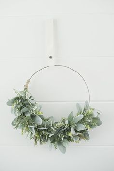 Beautiful Modern classic swag wreath filled with lambs ear, eucalyptus greens, dusty miller, an . Wreaths For Front Door, Door Wreaths, Christmas Wreaths, Christmas Decorations, Xmas, Spring Wreaths, Modern Wreath, Greenery Wreath, Wall Decor