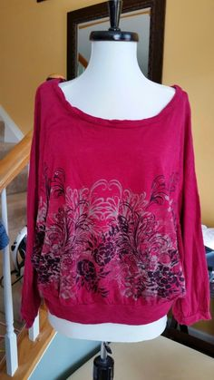 627e5c79fe97a0 Elle Burgundy Floral Batwing Top Womens Sz M Red Twisted Dolman Blouse