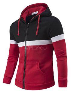 Chaqueta con capucha roja manga larga cremallera contraste Color Casual con  capucha de algodón hombres abd301e77b6ab