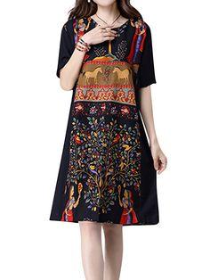 Gracila Vintage Women Short Sleeve Printed Split O-Neck Loose Dresses Shopping Online - NewChic