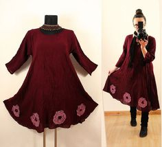 Loose Casual Short Maroon Fairy Pixie Floaty Flower Tunic DRESS < Floral Lagenlook Spring Summer Plus Size 12 14 16 18 20 1x 2x