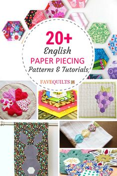 20 English Paper Piecing Patterns collected By Suzanna Colberg from FaveQuilts. Hexagon Quilt Pattern, Hexagon Patchwork, Paper Pieced Quilt Patterns, Quilting Templates, Quilt Block Patterns, Quilting Tutorials, Quilting Projects, Quilt Blocks, Paper Peicing Patterns
