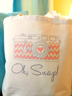 Photographer Tote Bag   Chevron Camera  Pink by HandmadeandCraft, $16.99