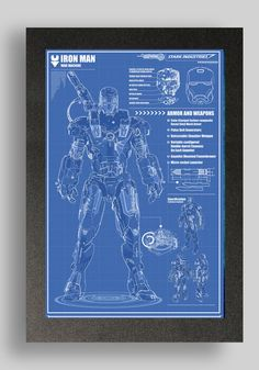 Iron Man war machine Suit Blueprint