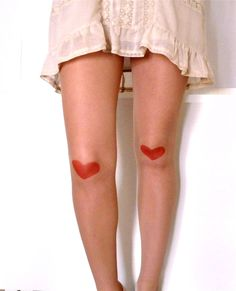 Tattoo tights Red Heart by TheSquareMoon on Etsy, :) like doll legs Nude Tights, Black Tights, Cherry Tattoos, Tattoo Tights, Fashion Collage, Black Heart, Heart Print, Big Fashion, Fashion History