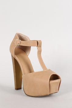 Breckelle Leatherette T-Strap Platform Heel