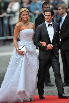Princess Madeleine and Prince Carl Philip attending a pre-wedding reception for Princess Victoria and Daniel Wrestling