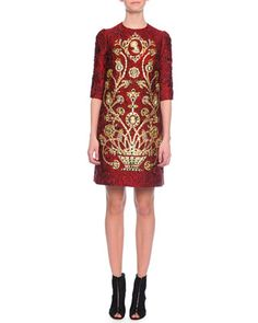 Elbow-Sleeve Embellished Cameo Dress by Dolce & Gabbana at Neiman Marcus.