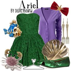 Ariel by leslieakay on Polyvore featuring Abercrombie & Fitch, Marni, Many Belles Down, Disney, American Apparel and disney