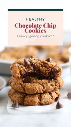 Say hello to the best chocolate chip cookies on the internet! These ooey-gooey healthy almond flour chocolate chip cookies are naturally sweetened and grain-free. And guess what? They don't taste healthy! Healthy Chocolate Chip Cookies, Healthy Cookies, Healthy Dessert Recipes, Healthy Baking, Healthy Treats, My Recipes, Sweet Recipes, Baking Recipes, Whole Food Recipes