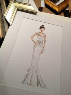 The matte and frame is so important. Bridal Illustration by www.carriebethtaylor.com