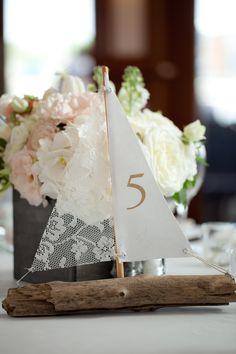 Driftwood sailboat table numbers.  www.2handsstudios.com