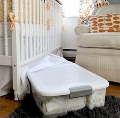 Store bigger clothes , extra wipes and diapers in an under the bed storage box ! Put under the crib! Genius !!