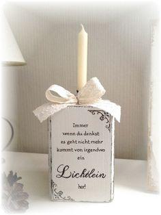 Mutmach+Kerzenständer+creme-braun,+shabby+chic+von+Hasterklabaster+auf+DaWanda.com