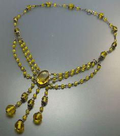 #Vintage Art Deco Crystal Glass Bead Festoon Necklace #jewelry by jujubee1.etsy.com , $60.00