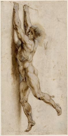 Peter Paul Rubens after Raphael Figure from The Fire in the Borgo 17th century drawing British Museum