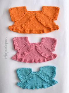 Bolero o torerita mariposa para niñas en 3 tallas tejido a palitos o dos agujas paso a paso :) Knitting For Kids, Baby Knitting, Lace Shorts, Cami, Doll Clothes, Children, Pattern, Sweaters, Margarita