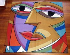 Picasso Inspired FACE Wall Hanging and Decorative Area Rug, 3x3 feet on SALE