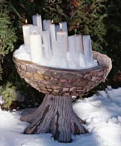 """Imbolc:  Craft a """"snow bowl"""" with candles for Imbolc."""