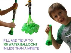 This is GENIUS!  Fill and tie up to 100 water balloons in one minute with Bunch O Balloons!