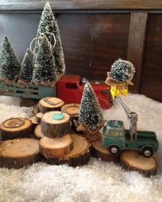 cute use of old toy trucks.  from Poppytalk - The beautiful, the decayed and the handmade: the art of the display