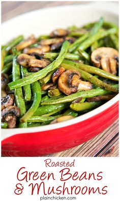 Healthy Thanksgiving Recipe Ideas - Roasted Green Beans and Mushrooms Recipe - fresh green beans and mushrooms tossed in olive oil, balsamic, garlic salt, pepper and baked. SO simple and SOOO delicious! Ready in about 20 minutes. Side Dish Recipes, Veggie Recipes, Vegetarian Recipes, Cooking Recipes, Healthy Recipes, Healthy Mushroom Recipes, Green Vegetable Recipes, Mushrooms Recipes, Healthy Thanksgiving Recipes