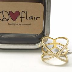 Asterisk ring sterling silver Brand new. 18 karat gold plated sterling silver ring with triple row CZ with * design. Each CZ band is approximately 1.2mm. The ring is 13mm wide. The bands are joined in the back with a 4mm x 7.25mm polished bar. Inquire for wholesale Peace love flair Jewelry Rings